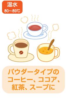 温水 80~89℃ パウダータイプのコーヒー、ココア、紅茶、スープに